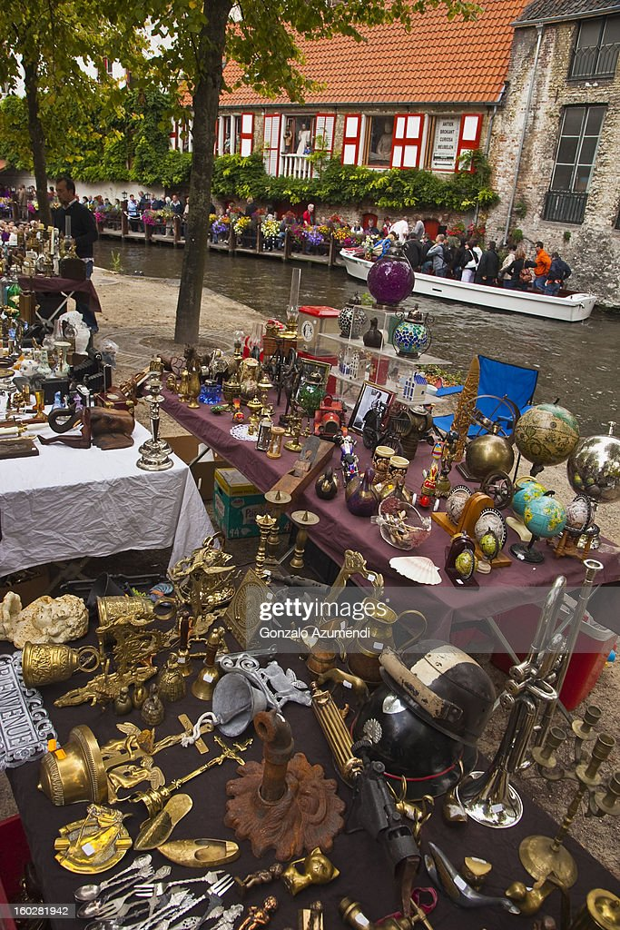 Street Market in Bruges. : Stock Photo