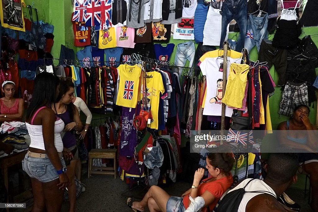A street market sells foreign attire in Old Havanaon November 12, 2012 in Havana, Cuba. New business regulations in the communist country have allowed thousands of citizens to make money for themselves for the first time since 1959.