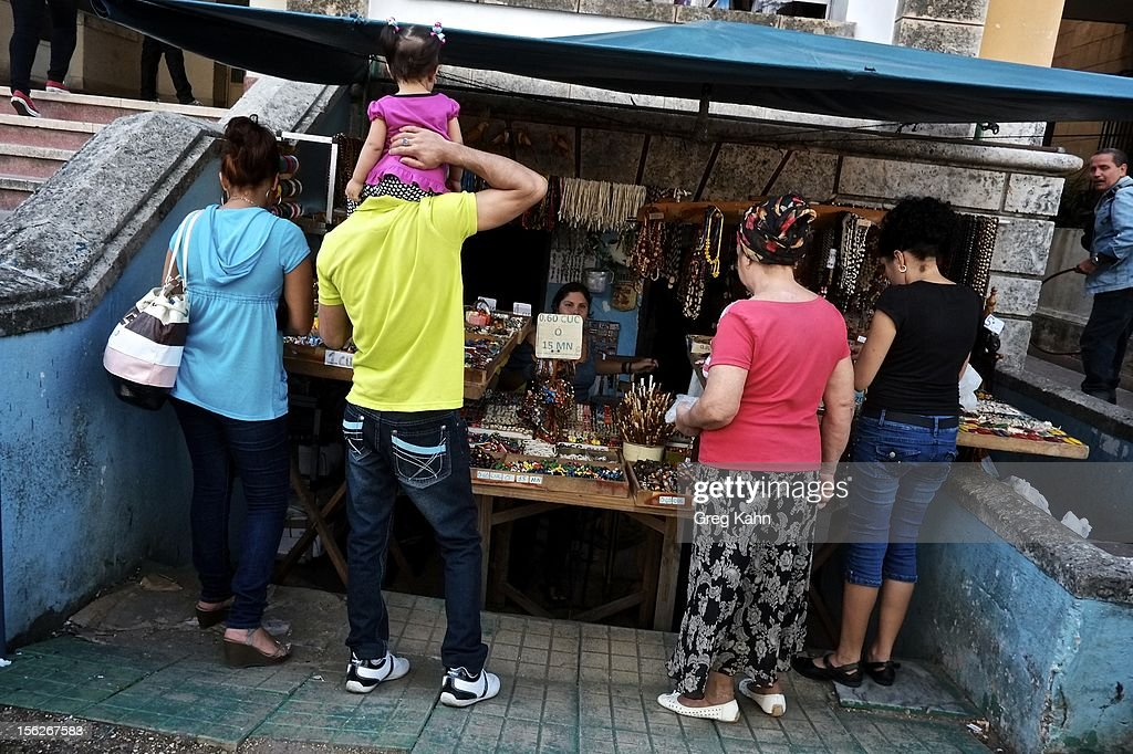A street market sells necklaces and bracelets in Old Havana on November 12, 2012 in Havana, Cuba. Shops like this, until a year ago, were only found in the black market. New business regulations in the communist country have allowed thousands of citizens to make money for themselves for the first time since 1959.