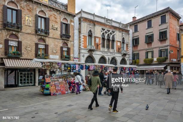 Street markets near the italian theater in Venice, located on Campiello De L'anconeta street,Italy