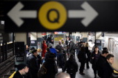 A street musician performs in the New York subway on November 12 2013 in New York City NY United States The street musicians who perform on the...