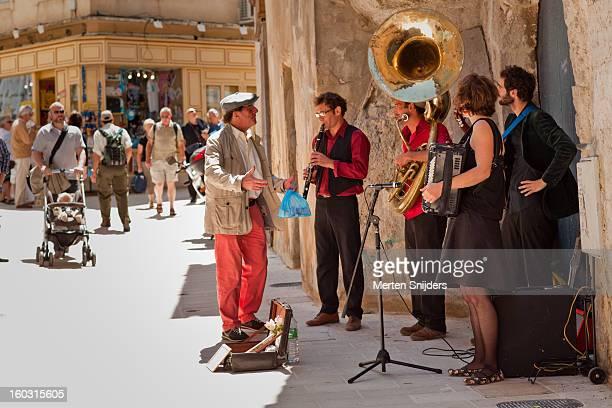 Street musicians in shopping street