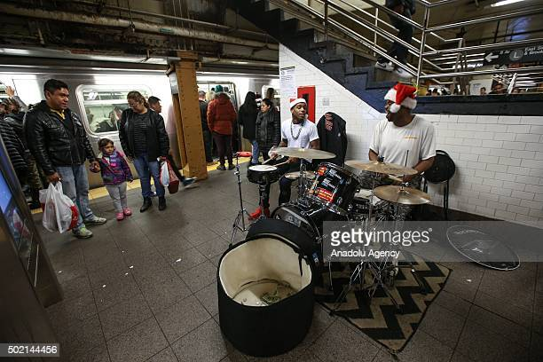 Street musicians perform in the New York subway on December 21 2015 in New York City NY United States The street musicians who perform on the...