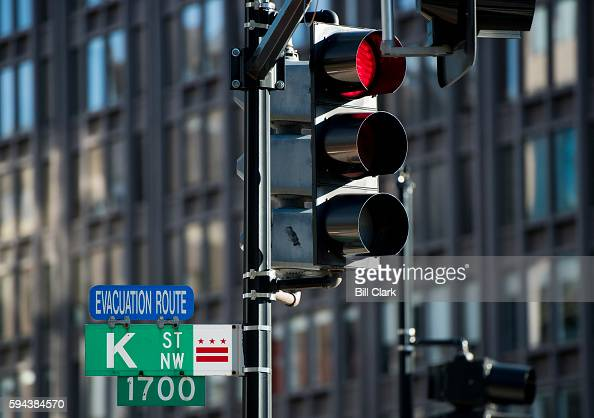 Street NW sign stands at the corner of Connecticut Avenue and K Street NW in downtown Washington DC on August 23 2016 K Street is the center of the...