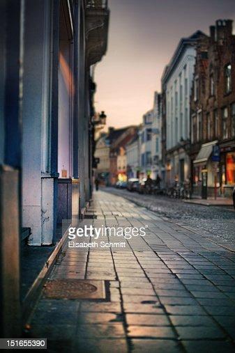 Street of city of Brugge (Belgium) at dawn : Stock Photo