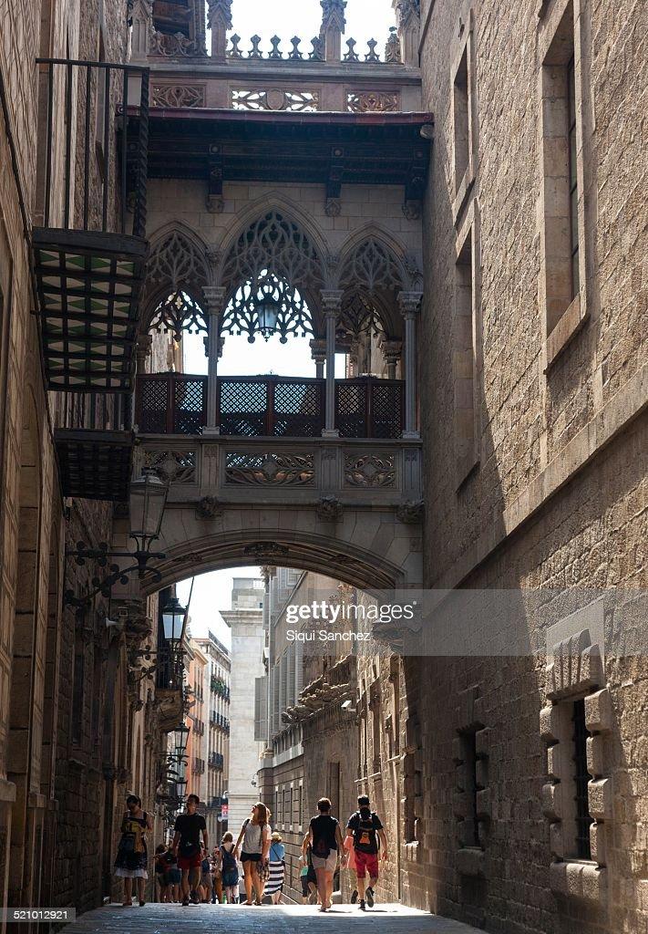 Street of El Bisbe Gothic Quarter Barcelona Spain