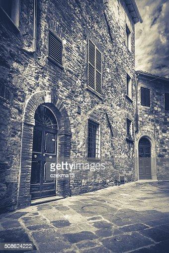 B&W street of Montepulciano, Tuscany : Stock Photo