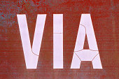Street or road sign in Italian