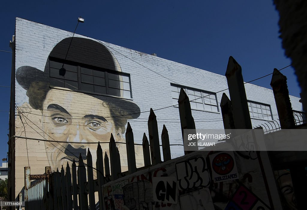 A street painting in a back alley of the Wax Museum in Hollywood on August 15, 2013 in Los Angeles, California.
