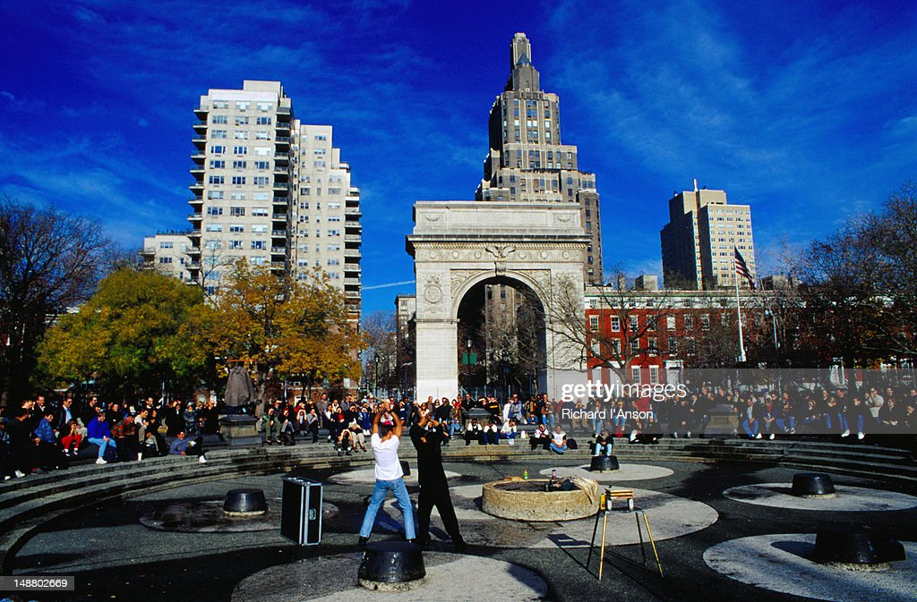 Street performers in Washington Square, Greenwich Village - New York, New York