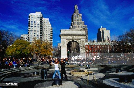 Street performers in Washington Square, Greenwich Village - New York, New York