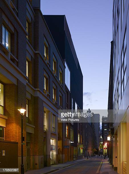 Street perspective from south showing new gallery building embedded at night Photographers' Gallery Art Gallery Europe United Kingdom O'Donnell and...