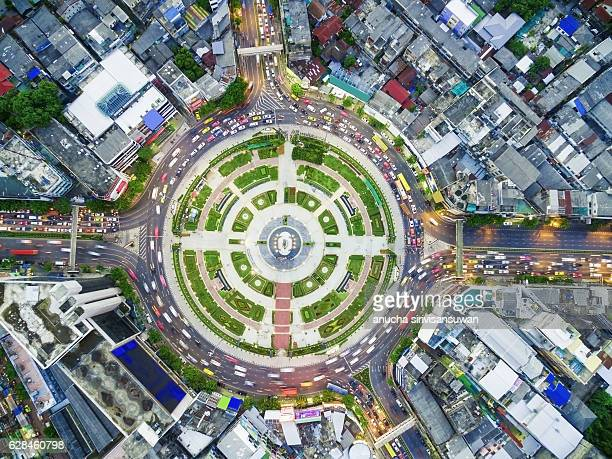 street roundabout large beautiful Downtown at night .