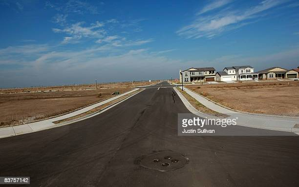 A street runs through vacant property after construction was halted at a 750 home housing development November 19 2008 in Rio Vista California The...