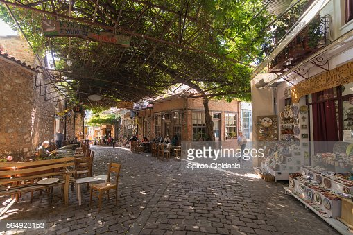Street scene, Agiasos : Stock Photo