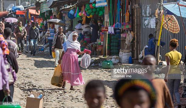 Street scene at a local food market on October 12 2015 in Addis Abeba Ethiopia