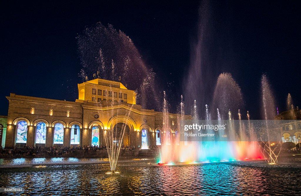 Street scene at night on June 29, 2016 in Yerewan, Armenia.