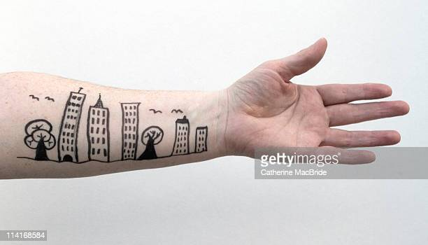 Street scene doodle on outstretched arm