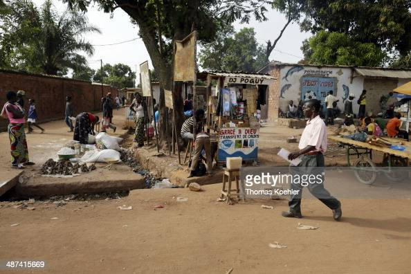 A street scene featuring street traders and local people as seen on March 12 2014 in Bangui Central African Republic