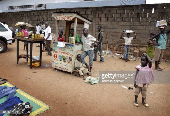 A street scene featuring traders and local people as seen on March 14 2014 in Bangui Central African Republic