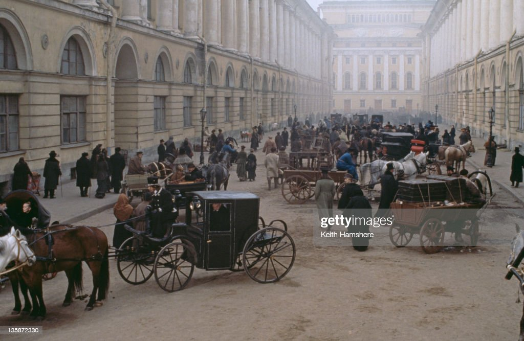 A street scene from the film 'Leo Tolstoy's Anna Karenina', 1997. The movie was filmed on location in Russia.