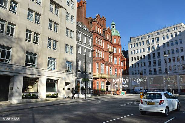 A street scene in Berkeley Square Mayfair on May 1 2016 in London England The Blitz aerial bombing offensive lasted for eight months during the early...