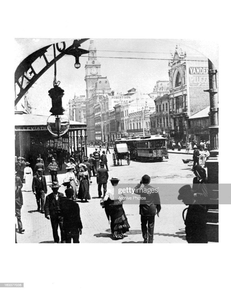 Street scene in Bourke Street looking west in Melbourne Australia circa 1903