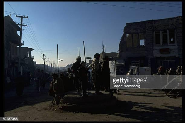 Street scene in city under control of Taliban faction led by radical Islamic clerics winning civil war