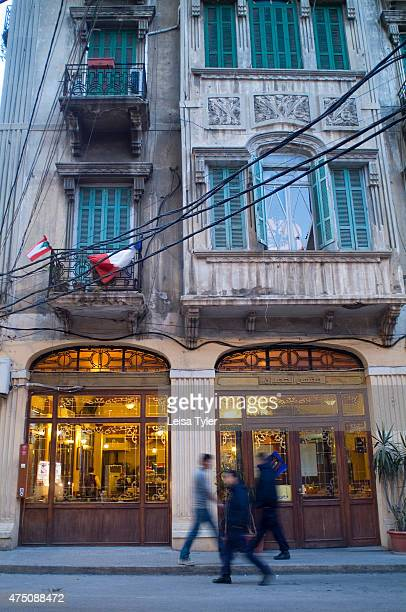 Street scene in Gemmayzeh a central city neighbourhood in Beirut Boasting a rare collection of intact 19th century apartment buildings Gemmayzeh is...