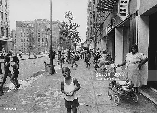 A street scene in Harlem New York City circa 1970
