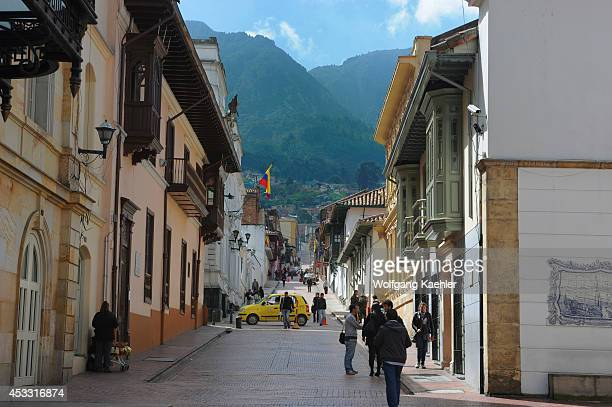 Street scene in La Candelaria the old town of Bogota Colombia