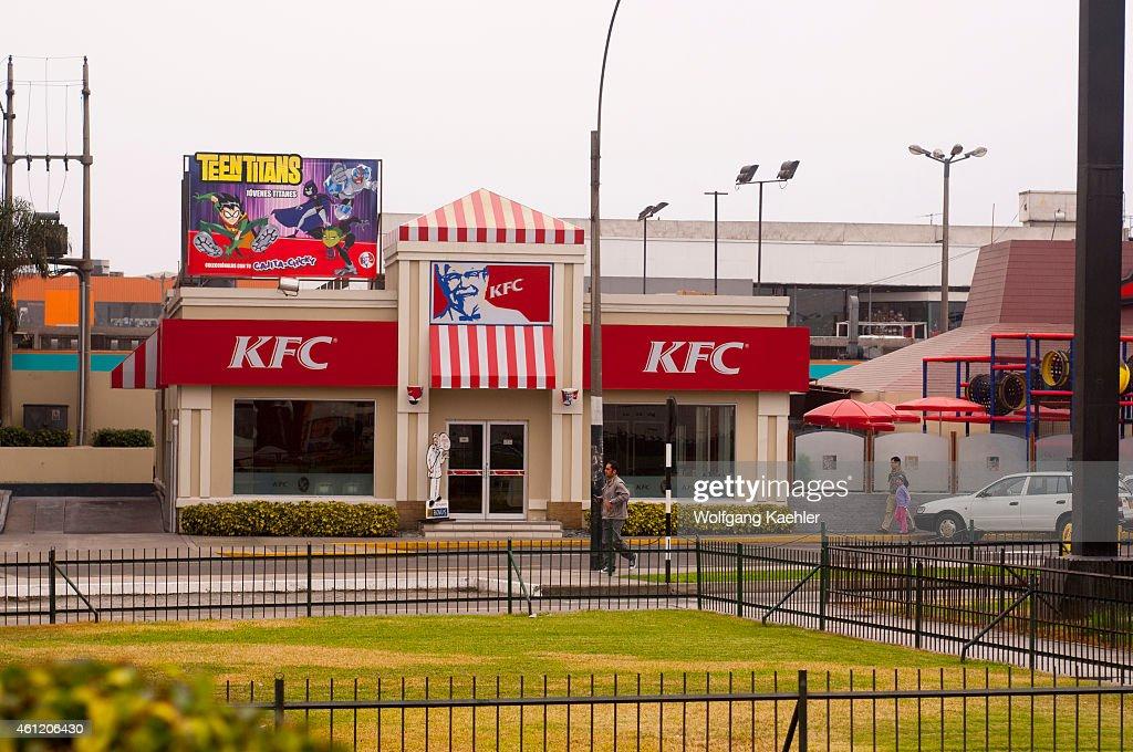 Street scene in Lima Peru with a KFC fast food restaurant
