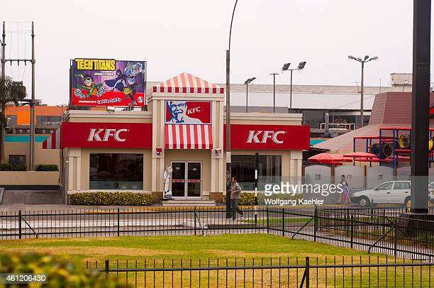Street scene in Lima Peru with a KFC fast food restaurant