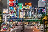 Street scene in Shinjuku ward of Tokyo, Japan