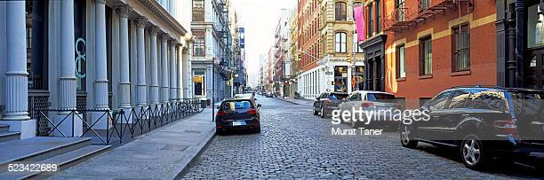 Street scene in Soho with cast iron buildings