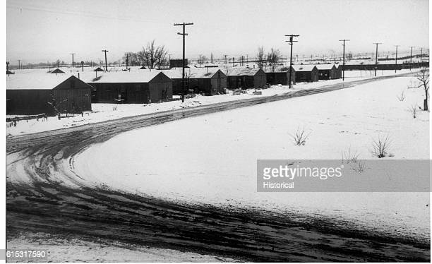 Street scene in wintertime at the Manzanar Relocation Center for JapaneseAmericans in California | Location Manzanar California USA