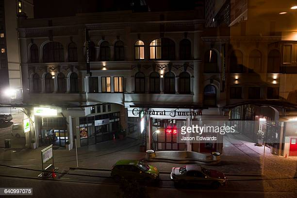 A street scene late at night in Christchurch.