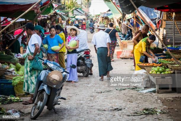 Street scene, Market stalls in a street of Mawlamyine, Mon State, Southern Myanmar (Burma)