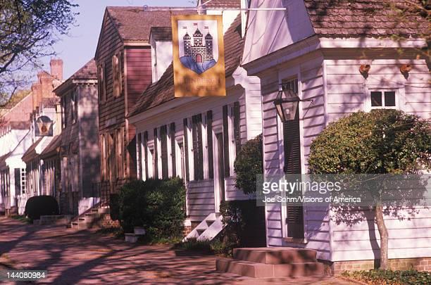 Street scene of early colonial life in Williamsburg Virginia