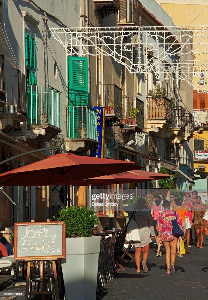 Street scene on the island of Lipari : Stock Photo