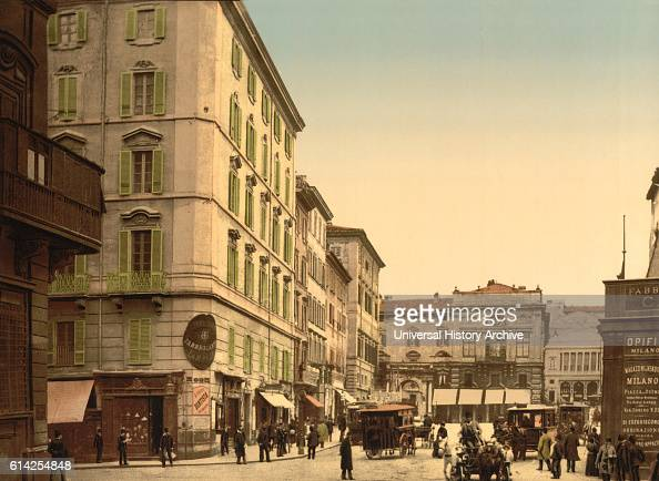 Street Scene Rome Italy Photochrome Print circa 1900