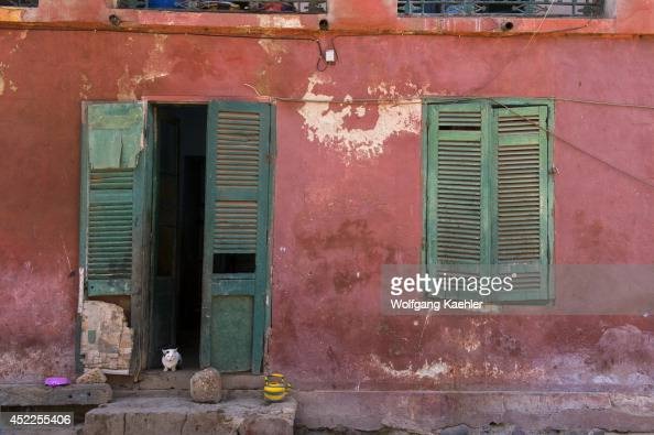 Street scene with detail of old colonial houses on Goree Island in the Atlantic Ocean outside of Dakar in Senegal West Africa