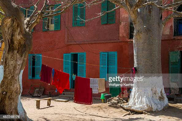 Street scene with laundry drying on Goree Island in the Atlantic Ocean outside of Dakar in Senegal West Africa
