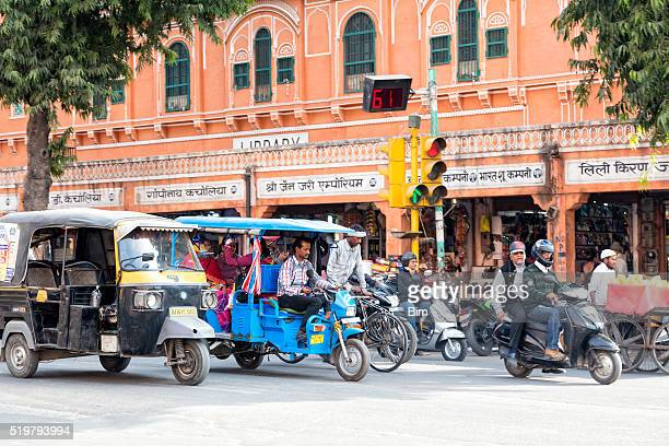 Street Scene With Motorcycles, Rickshaws, Jaipur, India