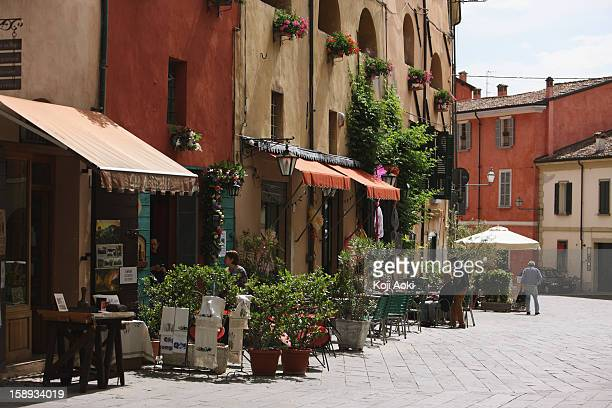 Street Scene With Roadside Caf?, Tuscany, Italy
