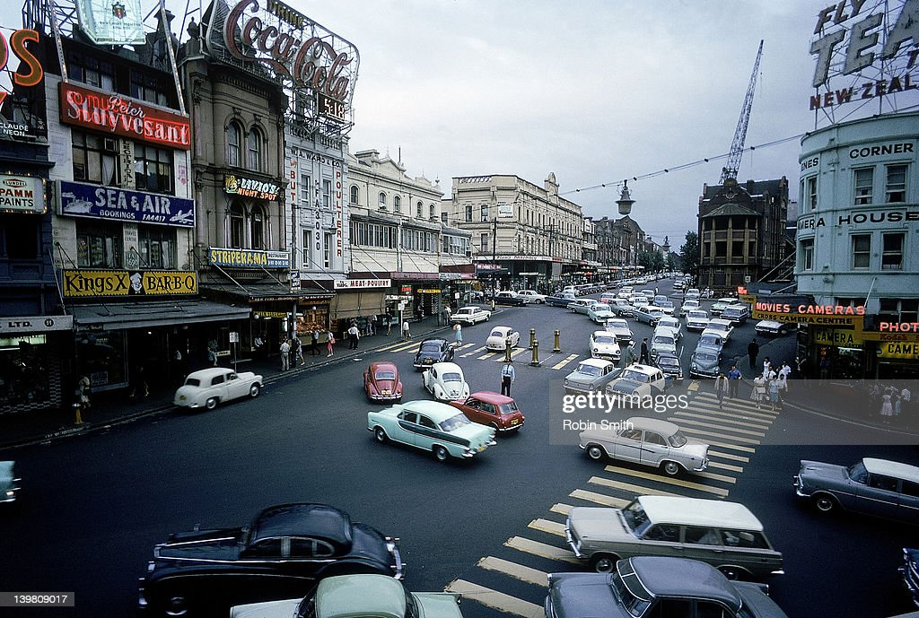 Street scene with traffic & pedestrians, Kings Cross, Sydney, 1964 : Stock Photo