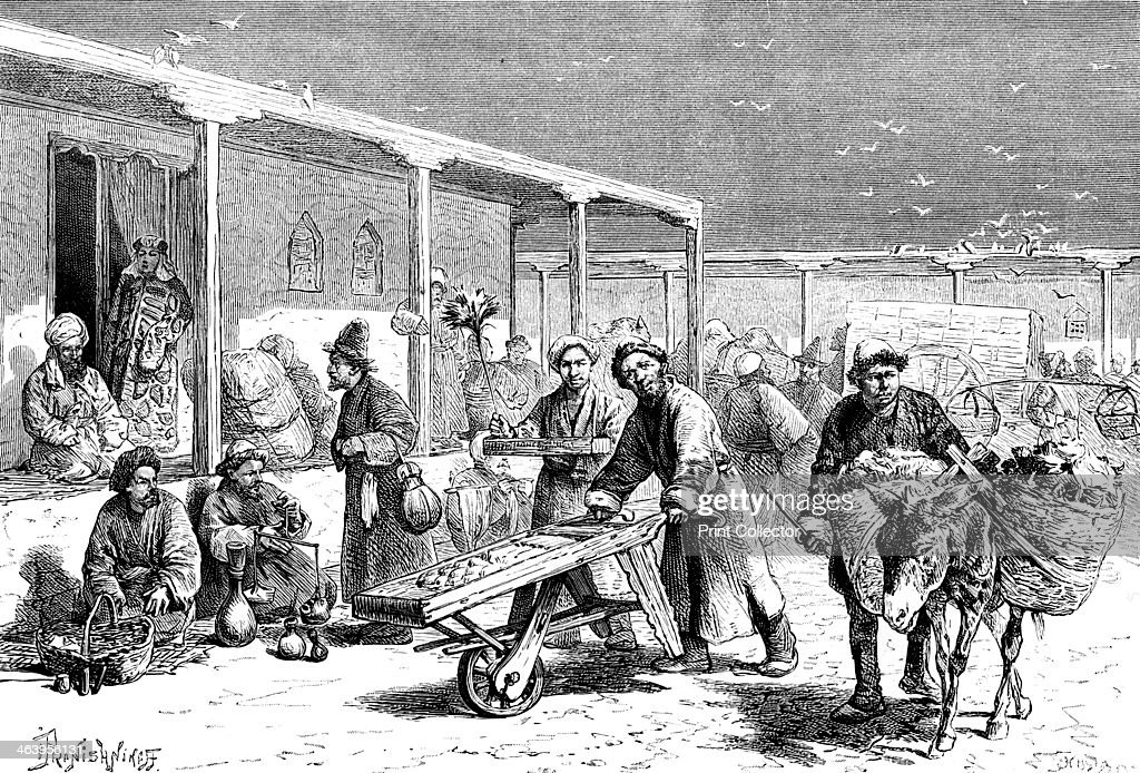 'Street scene Yarkand' c1890 Central Asian peoples in the Chinese town of Shache also known as Yarkand Illustration from The Universal Geography with...