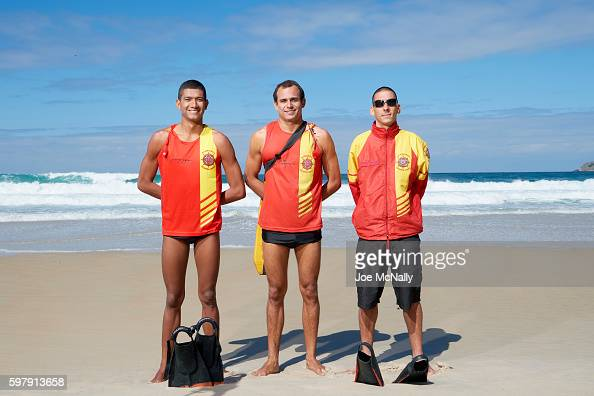 2016 Summer Olympics Portrait of SOBRASA lifegaurds private Pablo Almeida corporal Yuri Martens and corporal Anderson Alves during photo shoot on Sao...