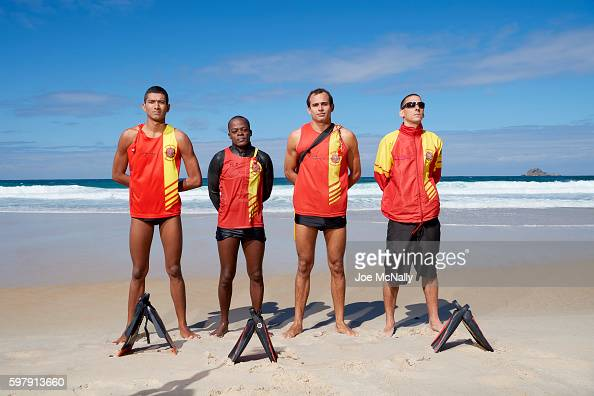 2016 Summer Olympics Portrait of SOBRASA lifegaurds private Pablo Almeida sergeant Andrei Azevedo corporal Yuri Martens and corporal Anderson Alves...