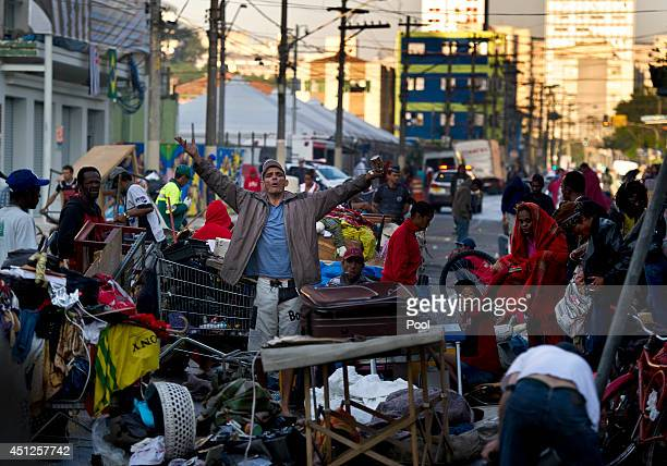 Street scenes as Prince Harry visits 'Cracolandia' an extremely deprived area of Sao Paulo with a high concentration of crack addicts on June 26 2014...